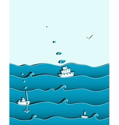 Ocean or sea background with ships vector