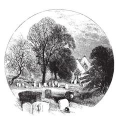 Old graveyard vintage vector