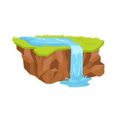 Piece of land with waterfall isolated vector