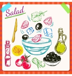 Salad cooking process vector