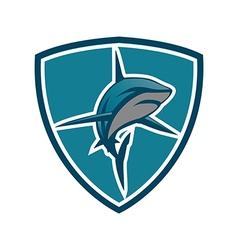 Shark emblem shield vector