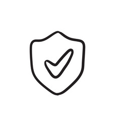 Shield with check mark sketch icon vector