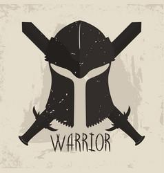 Spartan helmet with crossed swords and lettering vector