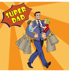 Super dad with kids on his hands and shopping bags vector