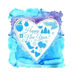 Watercolor Christmas blue card with heart vector image
