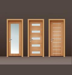 wooden doors vector image vector image
