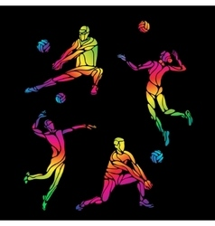 Volleyball silhouettes rainbow collection vector