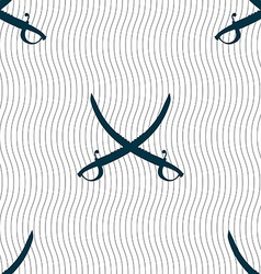 Crossed saber sign seamless pattern with geometric vector