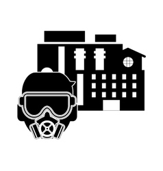 Factory and gas mask icon vector