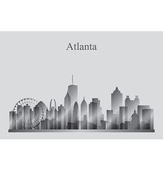 Atlanta city skyline silhouette in grayscale vector image