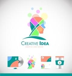 Creative idea concept human head logo icon design vector