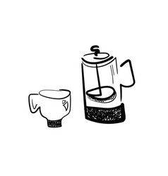 french press and coffee cup vector image
