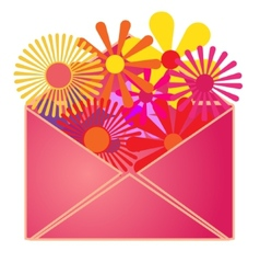 An envelope with summer flowers inside vector image
