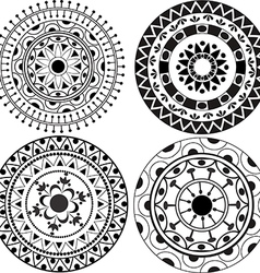 Ethnic lacy mandala patterns vector