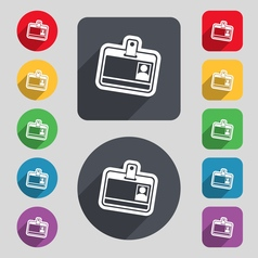 Id card icon sign a set of 12 colored buttons and vector