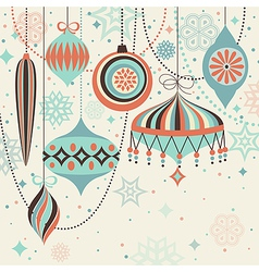 christmas vintage card with baubles vector image