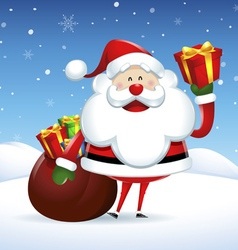 Santa Claus holding a gift box in Christmas snow vector image