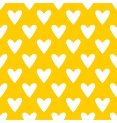 Tile pattern with white hearts yellow background vector image