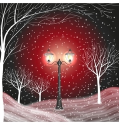 Winter background with vintage lantern in a snow vector image