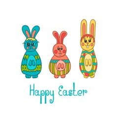 Greeting card with easter bunny-3 vector