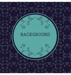 Dark round frame with floral background vector
