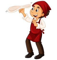 Chef with red apron making pizza vector