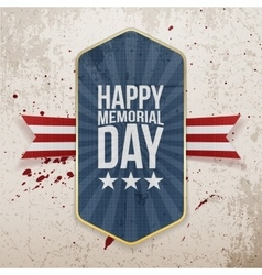 Happy memorial day festive label and ribbon vector