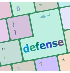 Computer keyboard keys with word defense vector