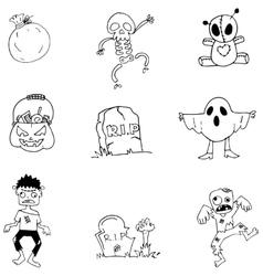 Character halloween in doodle element vector