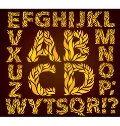 Alphabet yellow leaves vector image