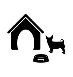 Black silhouette dog animal house and pet bowl set vector