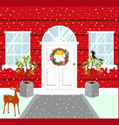 Christmas house outdoor decorations snowy weather vector
