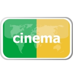 cinema word on web button icon isolated on vector image vector image