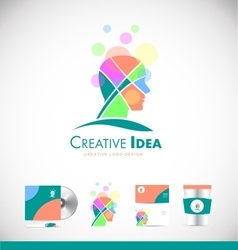 Creative idea concept human head logo icon design vector