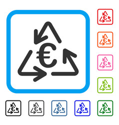 euro recycling framed icon vector image vector image