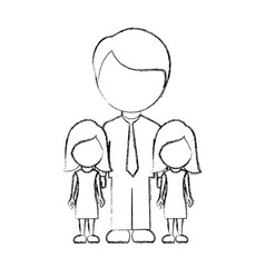 Figure man her girls twins icon vector