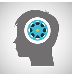 film reel silhouette head think movie vector image