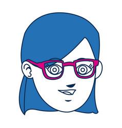 Girl avatar face blue hair and glasses vector