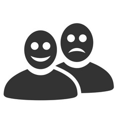 Glad and sad people flat icon vector