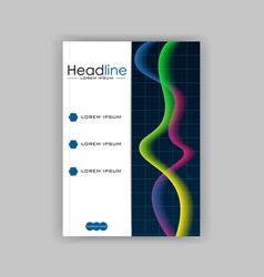 Glowing diagram book cover design with colourful vector