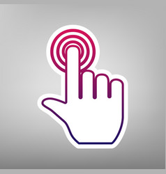 Hand click on button purple gradient icon vector