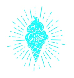 Hand drawn textured label ice cream vector image