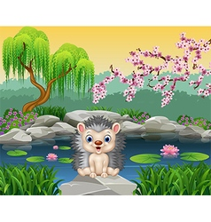Happy hedgehog sitting vector image vector image
