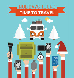 holidays tours time totravel modern design flat vector image vector image