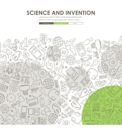 Invention doodle website template design vector