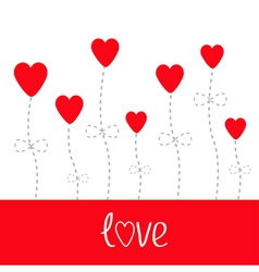 love card Heart flowers White and red vector image