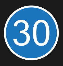 Minimum speed sign 30 flat icon vector