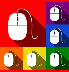 Mouse sign set of icons with vector