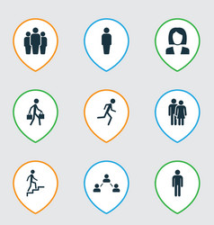 Person icons set collection of group member vector