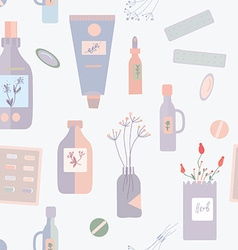 Pills and medications seamless pattern - vector image